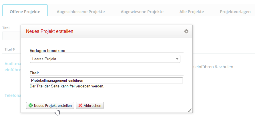 Projektmanagement in Q.wiki: Neues Projekt anlegen