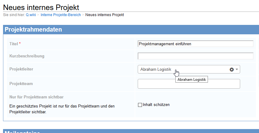 Projektmanagement in Q.wiki: Projektsteckbrief anlegen