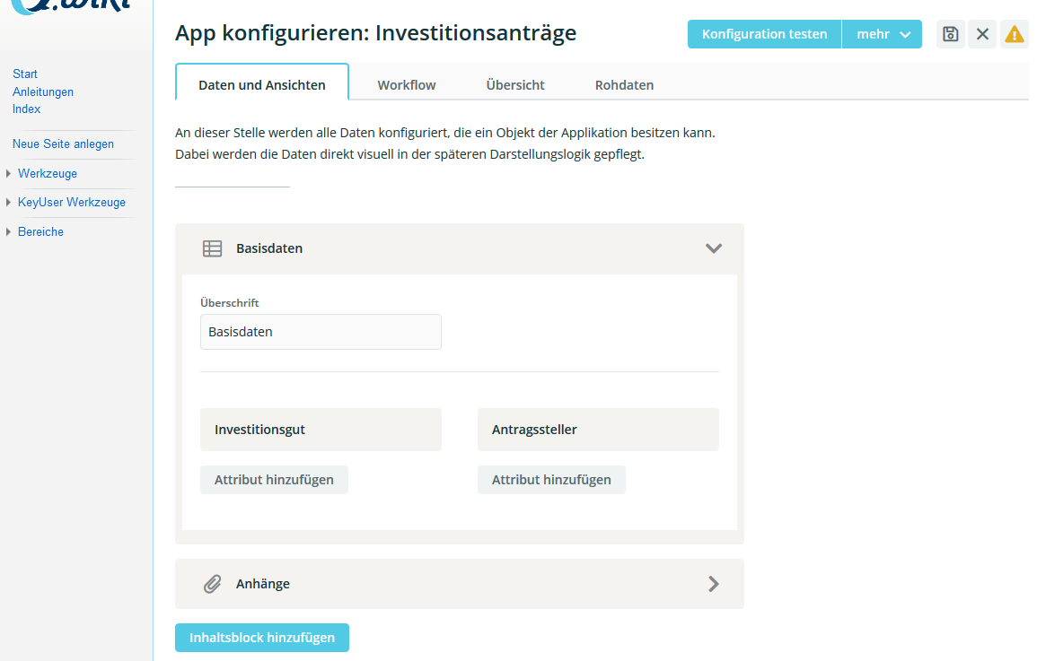 Apps konfigurieren mit dem Workflow Management System in Q.wiki