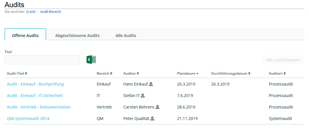 Auditprogramm planen mit der Audit-App in Q.wiki